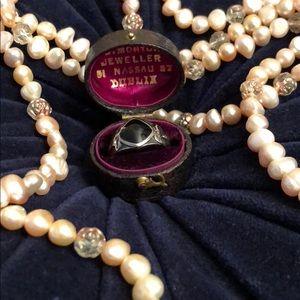 Vintage Onyx Art Deco Silver Ring Fleur Design